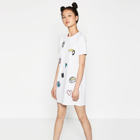 Zara Dresses & Skirts - Zara white short sleeve patch dress